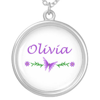 Olivia (Purple Butterfly) Round Pendant Necklace
