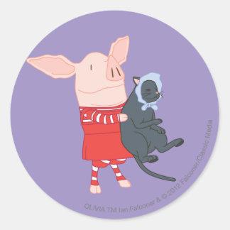 Olivia que detiene a Edwin el gato Pegatina Redonda