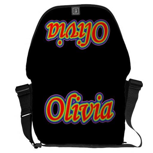 Olivia - Rainbow - On Black Courier Bag