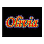 Olivia - Rainbow - On Black Postcard