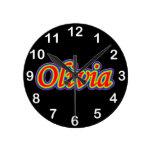 Olivia - Rainbow - On Black Wall Clocks