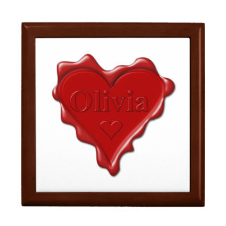 Olivia. Red heart wax seal with name Olivia Jewelry Box