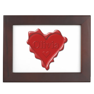 Olivia. Red heart wax seal with name Olivia Memory Box