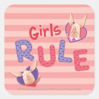 Olivia - regla de los chicas pegatina cuadrada