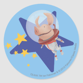 Olivia the Astronaut Classic Round Sticker