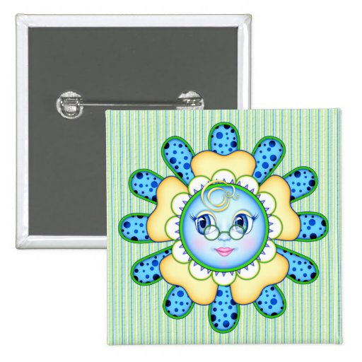 Olivia the Polka Dot Blossom Pinback Buttons