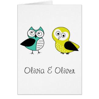 Olivia y Oliverio Tarjeta De Felicitación