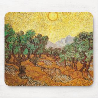 Olivos cielo amarillo y bella arte de Sun Van Gogh Alfombrillas De Ratones