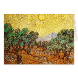 Olivos cielo amarillo y bella arte de Sun Van Gogh Tarjeta Pequeña