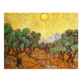 Olivos cielo amarillo y bella arte de Sun Van Gogh Tarjetas Postales