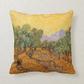Olivos, cielo amarillo y Sun, Vincent van Gogh Almohadas