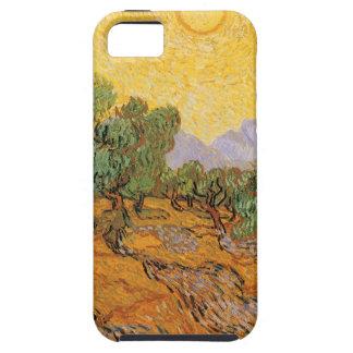 Olivos, cielo amarillo y Sun, Vincent van Gogh iPhone 5 Fundas