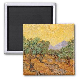 Olivos, cielo amarillo y Sun, Vincent van Gogh Imán Cuadrado