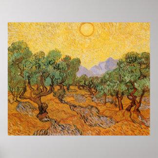 Olivos, cielo amarillo y Sun, Vincent van Gogh Impresiones