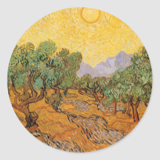 Olivos, cielo amarillo y Sun, Vincent van Gogh Pegatina Redonda
