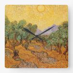 Olivos, cielo amarillo y Sun, Vincent van Gogh Reloj
