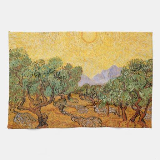 Olivos, cielo amarillo y Sun, Vincent van Gogh Toallas De Mano