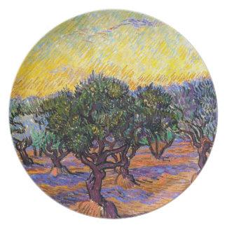 Olivos, cielo anaranjado Van Gogh Vincent Plato