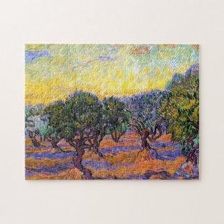 Olivos, cielo anaranjado Van Gogh Vincent Puzzle