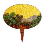 Olivos con el cielo amarillo y Sun Figuras Para Tartas