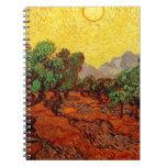 Olivos con el cielo amarillo y Sun Cuaderno