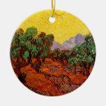 Olivos con el cielo amarillo y Sun de Van Gogh Ornamento Para Reyes Magos