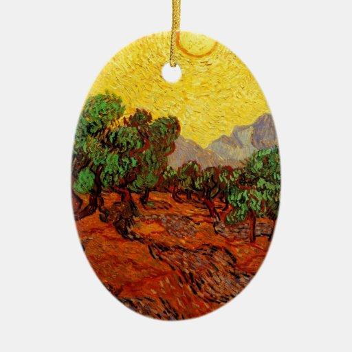 Olivos con el cielo amarillo y Sun Adorno Ovalado De Cerámica