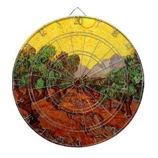 Olivos de Van Gogh con el cielo amarillo Sun,