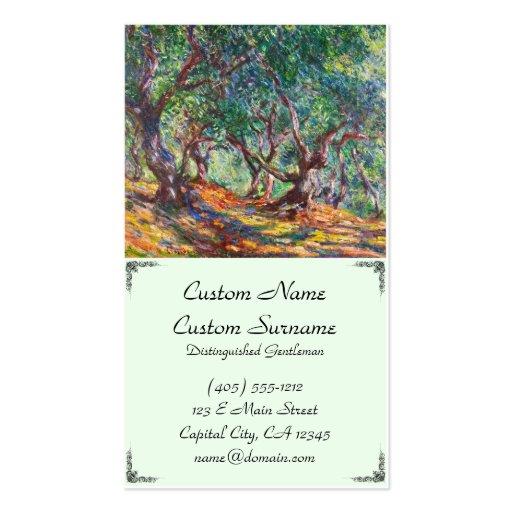 Olivos en Bordighera, Claude Monet 1884 Plantilla De Tarjeta De Visita