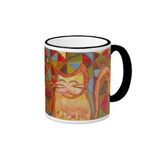 Ollie la taza anaranjada del gato del remiendo