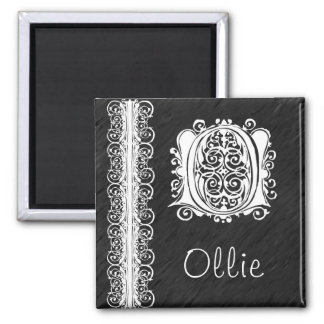 Ollie O Monogram White Lace on Black Magnet Magnets