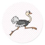 Ollie Ostrich Round Stickers
