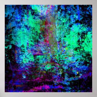 Olmo abstracto azul y púrpura bonito del Grunge Póster