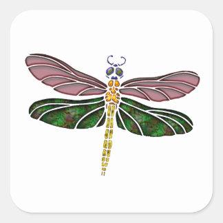Olmo Shell y libélula del vitral Pegatina Cuadrada