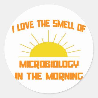 Olor de la microbiología por la mañana etiqueta