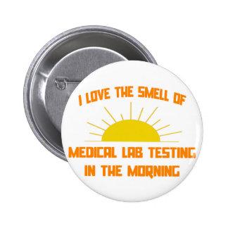 Olor de la prueba de laboratorio médico por la mañ pin redondo 5 cm