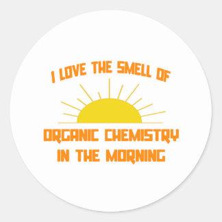 Olor de la química orgánica por la mañana pegatina redonda