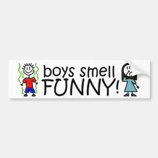 ¡Olor del muchacho divertido Pegatina De Parachoque