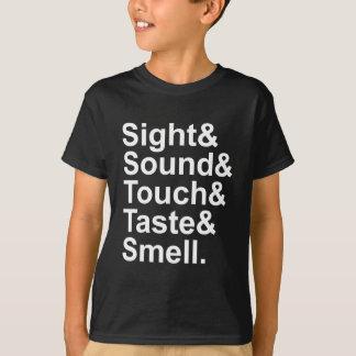 Olor el   del gusto del tacto del sonido de la playera