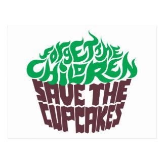 Olvide a los niños - verde+Chocolate oscuro Postal