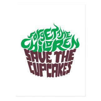 Olvide a los niños - verde+Chocolate oscuro Tarjetas Postales