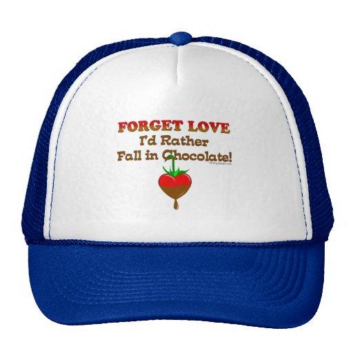 Olvide el amor que caería bastante en chocolate gorros