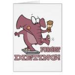 olvide el elefante divertido de dieta del humor de tarjetas