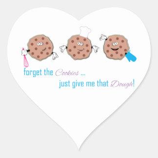 Olvide las galletas pegatina en forma de corazón