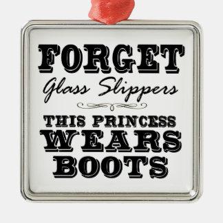 Olvide los deslizadores de cristal, esta princesa adorno navideño cuadrado de metal