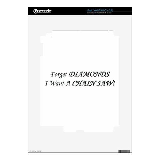 Olvide los diamantes que quiero las herramientas/m calcomanías para iPad 2