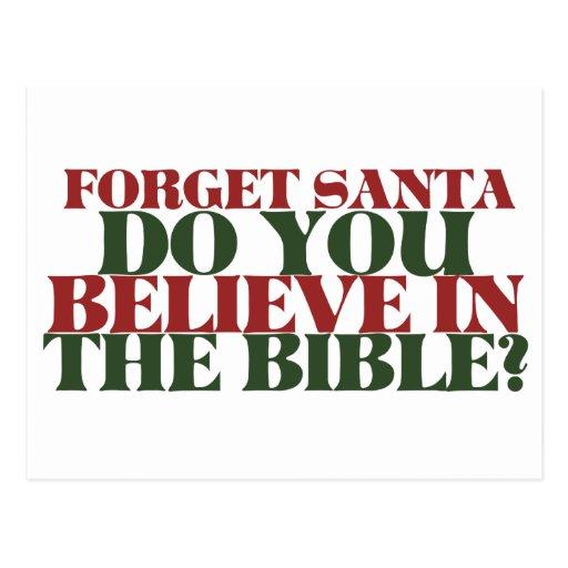 Olvide que Santa usted cree en la biblia Postal