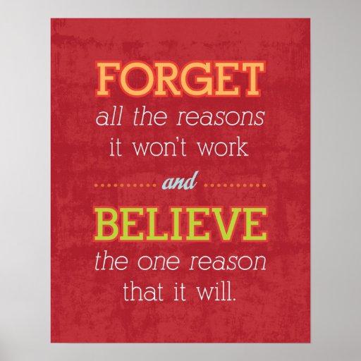 Olvide todas las razones que no trabajará. De moti Posters