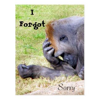 Olvidé, yo lo siento, yo olvidé, triste postal