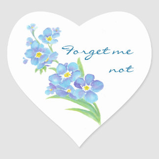 Olvídeme flor no de encargo del jardín de la acuar calcomanías corazones
